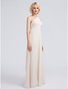 cheap Going Neutral-Sheath / Column One Shoulder Floor Length Chiffon Bridesmaid Dress with Ruched Criss Cross by LAN TING BRIDE®