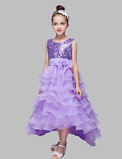 tanie Sukienki dla dziewczynek z kwiatami-Balowa Asymetryczna Sukienka dla dziewczynki z kwiatami - Organza Satyna Z cekinami Bez rękawów Zaokrąglony z Cekin Kokardki przez LAN