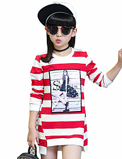 cheap Girls' Clothing-Girls' Daily Striped Tee,Cotton Spring Fall Long Sleeve Stripes Black Purple Red