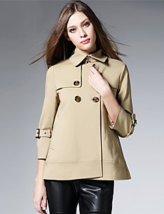 BURDULLY Women's Shirt Collar 3/4 Length Sleeve Trench Coat Black / Red / Khaki-9269