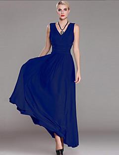 Χαμηλού Κόστους SWEET CURVE-Γυναικεία Μεγάλα Μεγέθη Εκλεπτυσμένο Θήκη Φόρεμα - Μονόχρωμο Μακρύ Λαιμόκοψη V