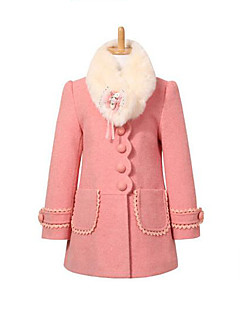 cheap Girls' Jackets & Coats-Girls' Daily Patchwork Jacket & Coat, Polyester Spring Fall Winter Long Sleeves Red Pink