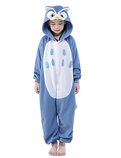 Kigurumi-pyjama's Uil Onesie Pyjama  Kostuum Fluwelen Mink blauw Cosplay Voor Kind Dieren nachtkleding spotprent Halloween Festival /