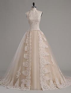A-line hercegnő halter kápolna vonat tüll esküvői ruha kristály által lan ting bride®