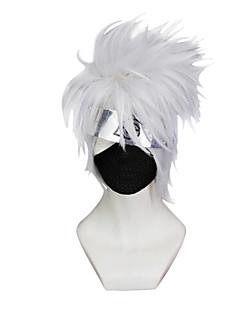 billiga Anime/Cosplay-peruker-Cosplay Peruker Naruto Hatake Kakashi Silver Animé Cosplay-peruker 10 tum Syntetiskt Fiber Herr halloween Peruker