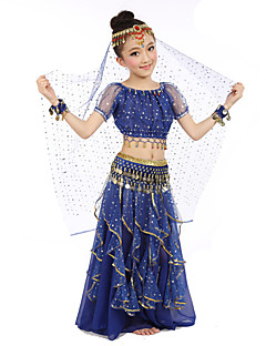 cheap Kids' Dancewear-Belly Dance Outfits Performance Polyester Chiffon Satin Sequin Gold Coin Short Sleeve Natural Top Skirt Belt Veil Bracelets Headwear