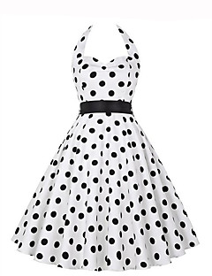 Women's Going out Vintage A Line Dress,Polka Dot Halter Knee-length Sleeveless Polyester Summer Mid Rise Micro-elastic