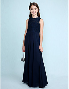 Sheath / Column Scoop Neck Floor Length Chiffon Lace Junior Bridesmaid Dress with Lace by LAN TING BRIDE®