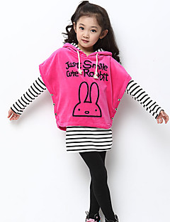 Girl's Cotton Spring/Autumn Stripe Batwing Coat Girls Clothing Sets Three-piece Set