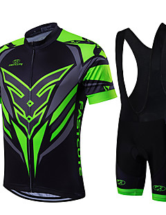 cheap Cycling Jersey & Shorts / Pants Sets-Fastcute Men's Short Sleeves Cycling Jersey with Bib Shorts - Green/Black Bike Clothing Suits, Quick Dry, Breathable, Sweat-wicking
