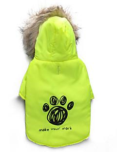 billiga Hundkläder-Katt Hund Kappor Huvtröjor Hundkläder Blommig/Botanisk Grön Cotton Kostym För husdjur Herr Dam Håller värmen