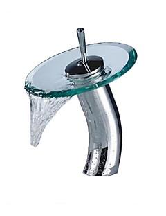 Moderní Umyvadlo na desku Vodopád Keramický ventil S jedním otvorem Single Handle jeden otvor Pochromovaný , Koupelna Umyvadlová baterie
