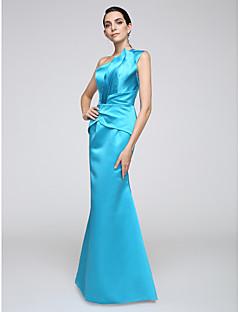 Trompetă / Sirenă Pe Umăr Lungime Podea Satin Stretch Seară Formală Rochie cu Drapat Părți de TS Couture®