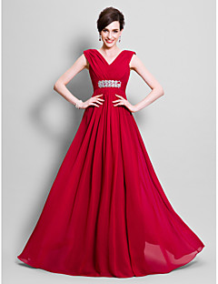 A-Line V-neck Floor Length Chiffon Mother of the Bride Dress with Beading Side Draping by LAN TING BRIDE®
