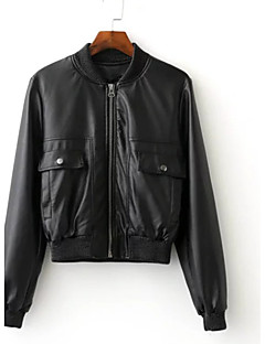 Women's Casual/Daily Simple Spring Leather Jacket,Solid Short PU Cotton