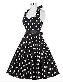 billige Vintage-dronning-Dame I-byen-tøj Vintage A-linje Kjole - Prikker Knælang Grime