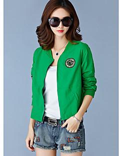 Damen Solide Einfach Lässig/Alltäglich Jacke,Rundhalsausschnitt Langarm Standard Polyester