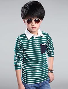 tanie Odzież dla chłopców-T-shirt Bawełna Dla chłopców Codzienny Pled Wiosna Jesień Na każdy sezon Długi rękaw Prążki Ciemno niebieski Czerwony Green