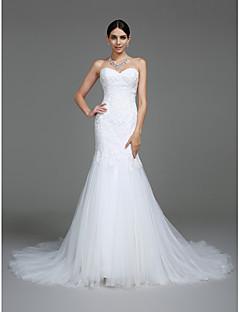 billiga Brudklänningar-Trumpet / sjöjungfru Hjärtformad urringning Hovsläp Spets på tyll Bröllopsklänningar tillverkade med Applikationsbroderi av LAN TING