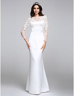 billiga Trumpet-/sjöjungfrubrudklänningar-Trumpet / sjöjungfru Bateau Neck Golvlång Satäng Bröllopsklänningar tillverkade med Spets / Knapp av LAN TING BRIDE®