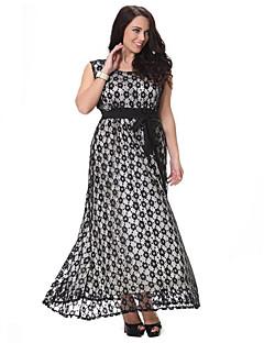 Χαμηλού Κόστους SWEET CURVE-Γυναικεία Μεγάλα Μεγέθη Δαντέλα Φόρεμα - Πουά, Δαντέλα Κοφτό Με Βολάν Μακρύ Ψηλοκάβαλο