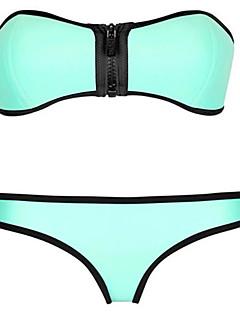 Kvinner Ensfarget / Retro Bandeau Bikini Nylon / Spandex