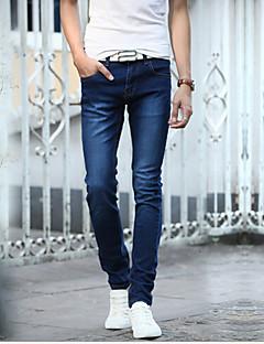 billige Herrebukser og -shorts-Herre Bomull Tynn Jeans Bukser Ensfarget / Helg