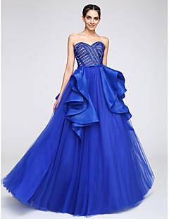 저렴한 특별한 이벤트 드레스-A-라인 스윗하트 바닥 길이 튤 댄스 파티 / 포멀 이브닝 드레스 와 레이스 으로 TS Couture®
