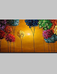 tanie Pejzaże abstrakcyjne-Hang-Malowane obraz olejny Ręcznie malowane - Kwiatowy / Roślinny Nowoczesny Płótno / Rozciągnięte płótno
