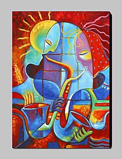 tanie Portrety abstrakcyjne-Hang-Malowane obraz olejny Ręcznie malowane - Abstrakcja Tradycyjny / Nowoczesny Płótno / Rozciągnięte płótno
