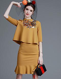 Χαμηλού Κόστους Γυναικεία Παντελόνια & Φούστες-Γυναικεία Μπλούζα Σετ - Μονόχρωμο, Πούλιες Φούστα