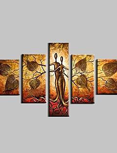 tanie Pejzaże abstrakcyjne-Hang-Malowane obraz olejny Ręcznie malowane - Abstrakcja / Krajobraz / Fantazyjne Nowoczesny Z ramą / Pięć paneli