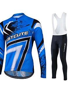 Fastcute Cycling Jersey with Bib Tights Men's Women's Unisex Long Sleeves Bike Jersey Tights Bib Tights Tracksuit Top Clothing Suits