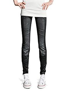 tanie Getry-Damskie Jeans Legging - Nadruk, Jendolity kolor Średni Talia