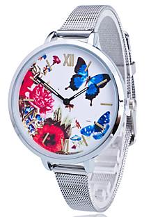 billige Leopard-ure-Dame Quartz Armbåndsur Farverig Rustfrit stål Bånd Vedhæng Blomst Afslappet Sommerfugl Mat Sort Mode Guld