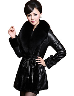 cheap Women's Furs & Leathers-Women's Vintage Plus Size Leather Jacket-Solid Colored,Fur Trim