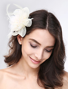 cheap Flower Girl Headpiece-Tulle Feather Net Fascinators Headwear with Floral 1pc Wedding Special Occasion Headpiece