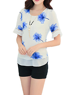 cheap Women's Tops-Women's Going out Street chic Blouse Layered Print