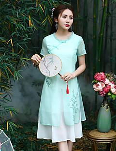 Χαμηλού Κόστους Chinoiserie Dresses-Γυναικείο Εξόδου Μεγάλα Μεγέθη Κινεζικό στυλ Θήκη Φόρεμα,Κέντημα Κοντομάνικο Στρογγυλή Λαιμόκοψη Μίντι Πολυεστέρας Καλοκαίρι Κανονική Μέση