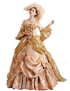 Χαμηλού Κόστους Κοστούμια μεταμφίεσης-Rococo / Victorian Στολές Γυναικεία Φορέματα / Κοστούμι πάρτι / Χορός μεταμφιεσμένων Κόκκινο / Χρυσαφί Πεπαλαιωμένο Cosplay Δαντέλα /