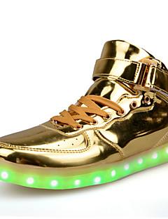 hesapli -Erkek Ayakkabı Patentli Deri Bahar Sonbahar Rahat Düz Ayakkabılar Atletik için LED Bağcıklı Gümüş Kırmzı Altın