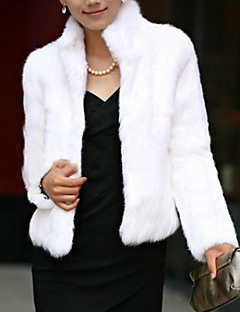 Women's Party / Evening Chic & Modern Winter Trench coat,Solid Color Stand Long Sleeves Short Feather/Fur Formal Style