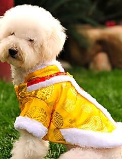 billiga Hundkläder-Katt Hund Kappor Tröja Hundkläder Broderi Gul Röd Polär Ull Cotton Kostym För husdjur Herr Dam Mode Nyår