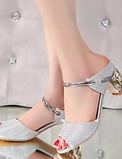Kadın Sandaletler Bilekten Bağlamalı PU Yaz Günlük Parti ve Gece Bilekten Bağlamalı Kalın Topuk Gümüş Altın 1inç-1 3/4inç