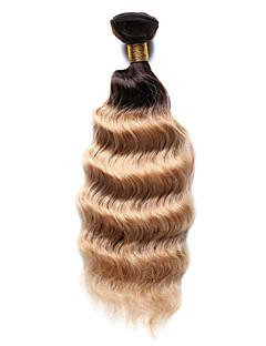 Păr Natural Păr Indian Ombre Ondulat Tare Extensii de par 1 Bucată Brown medie / Strawberry Blonde