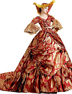 Victorian Rococo Women's One-Piece/Dress Red Cosplay Lace Cotton Court Train