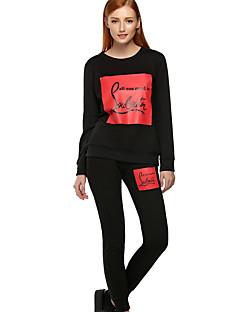 Feminino Blusa Calça Conjuntos Casual Esportivo Moda de Rua Outono Inverno,Estampado Decote Redondo Manga Longa