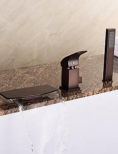 billige Foss-Antikk Art Deco/Retro Moderne Romersk kar Foss Hånddusj Inkludert Keramisk Ventil Tre Huller Enkelt håndtak tre hull Olje-gnidd Bronse,