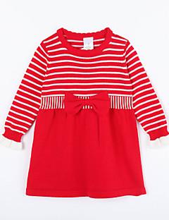 女の子の カジュアル/普段着 ストライプ コットン,ドレス / セーター&カーデガン 秋 レッド