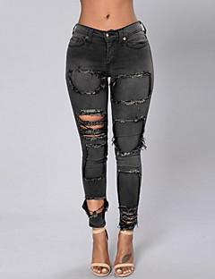 Femei Femei Pantaloni Simplu(ă) Blugi Poliester Micro-elastic